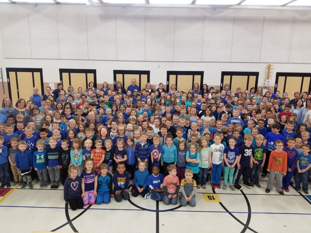 LPC students wearing blue for Jake