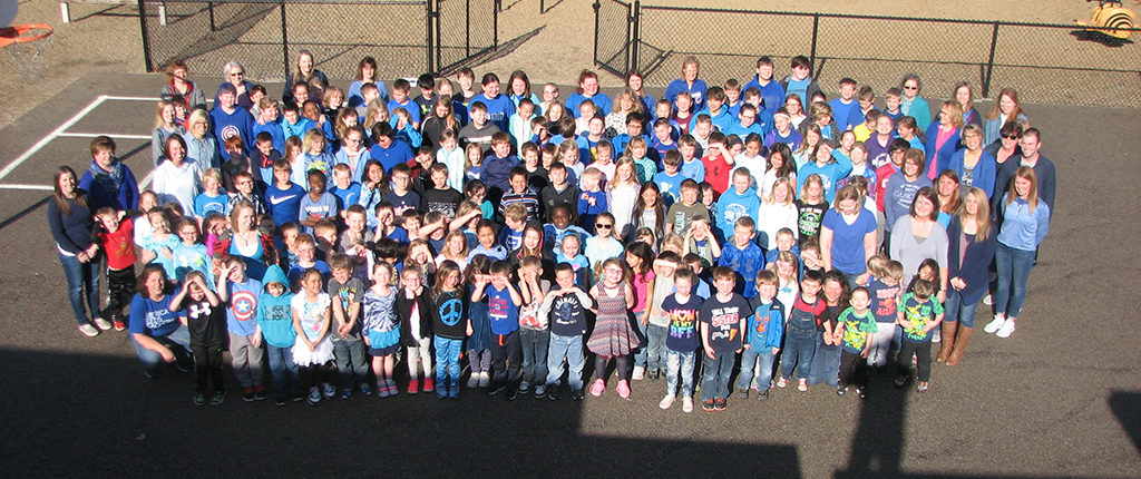 students wearing blue for Jake