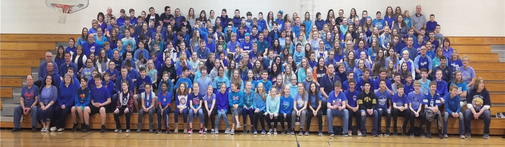 UMS middle school students wearing blue