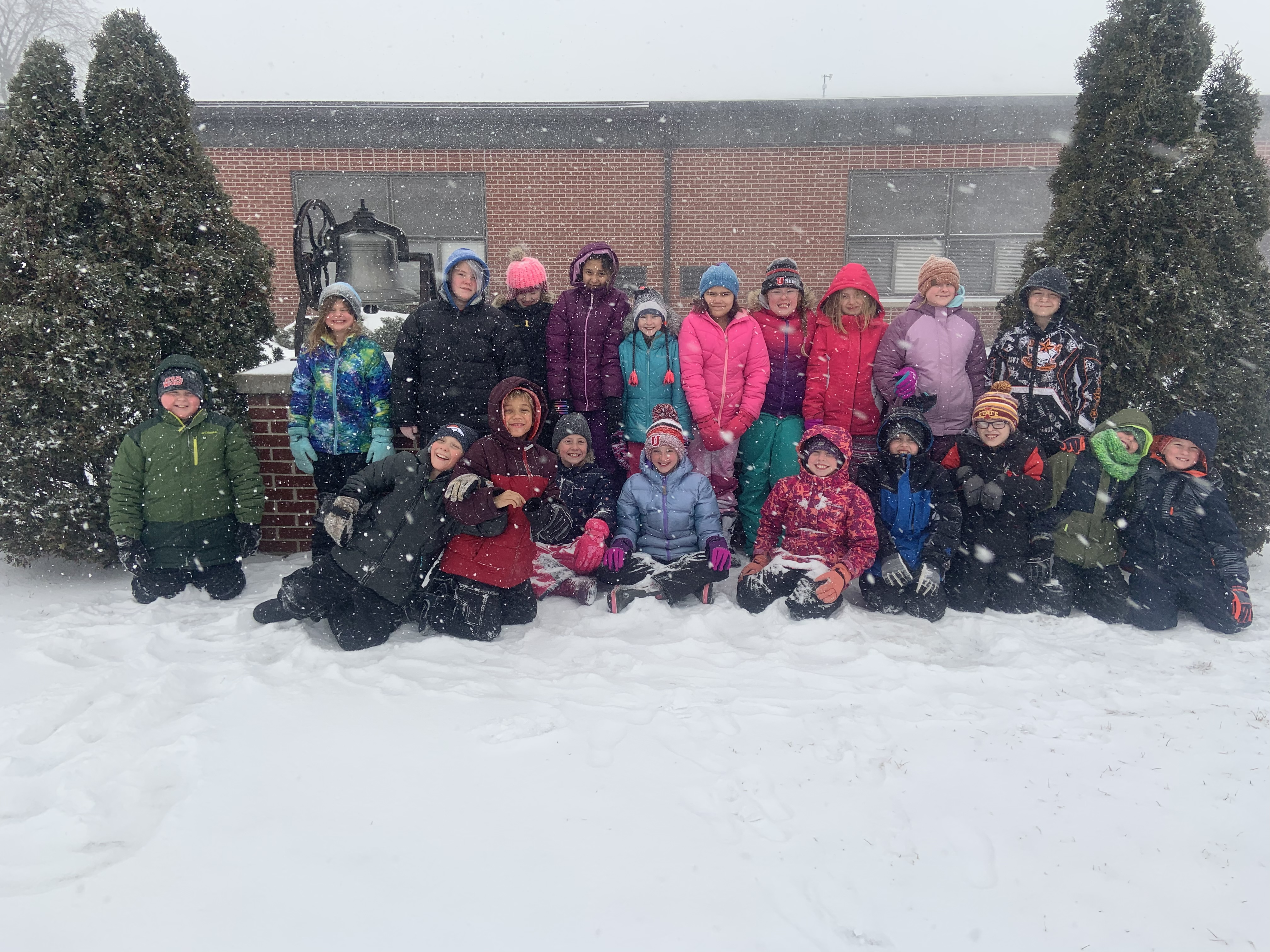 Elementary students in snow