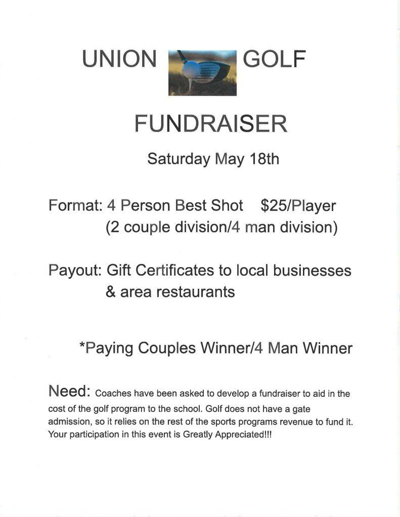 Union Golf fundraiser flyer