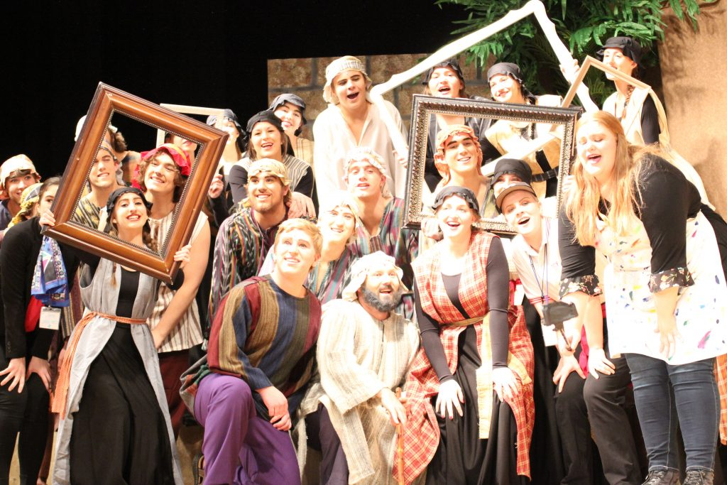 Photo of student actors during Joseph and the Amazing Technicolor Dreamcoat