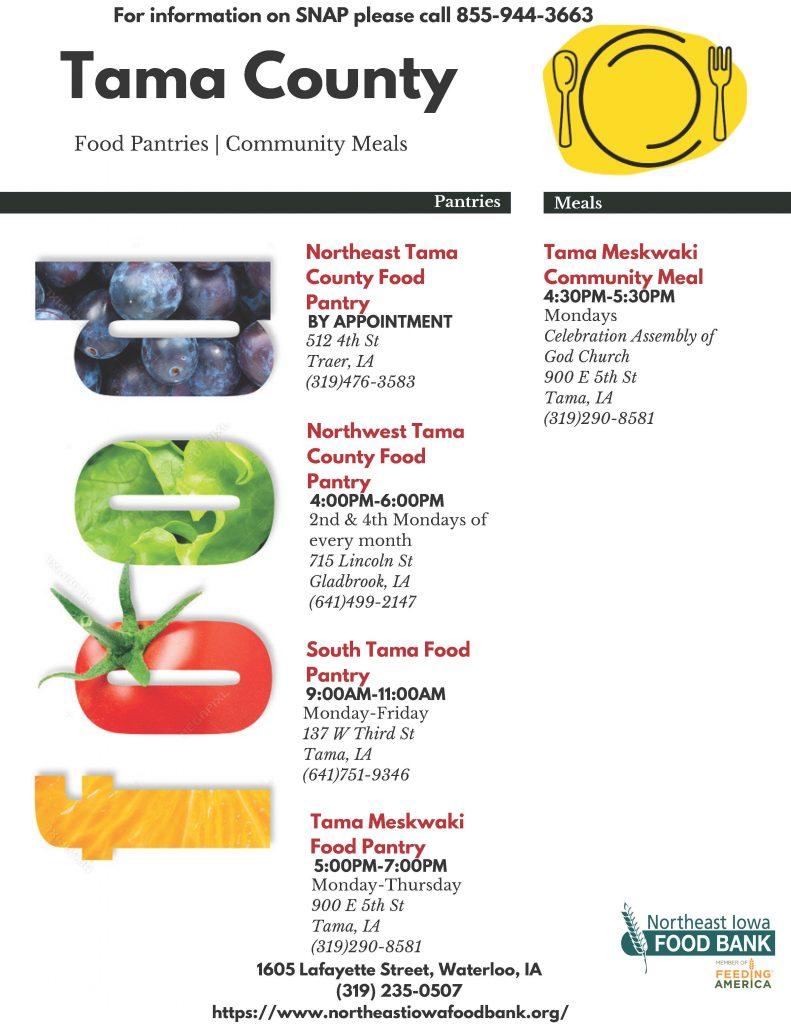 Tama County food pantry flyer