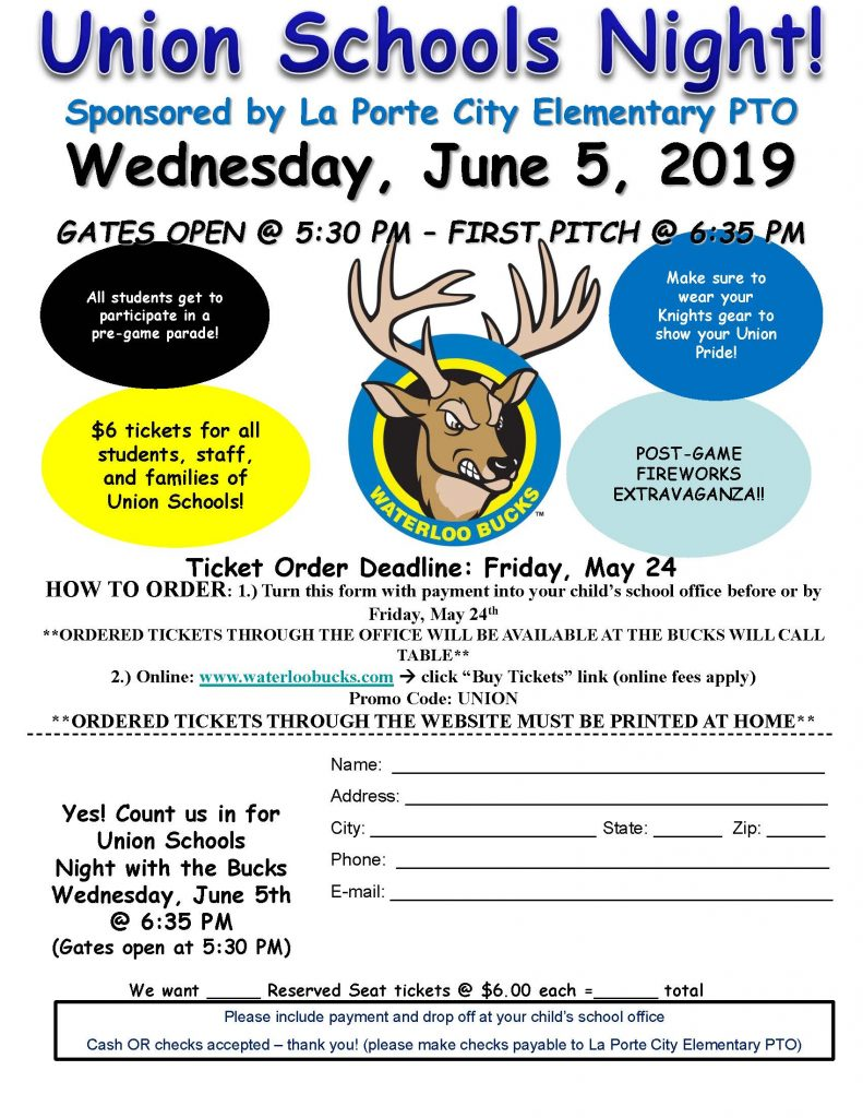 Union Schools Night Flyer - Waterloo Bucks
