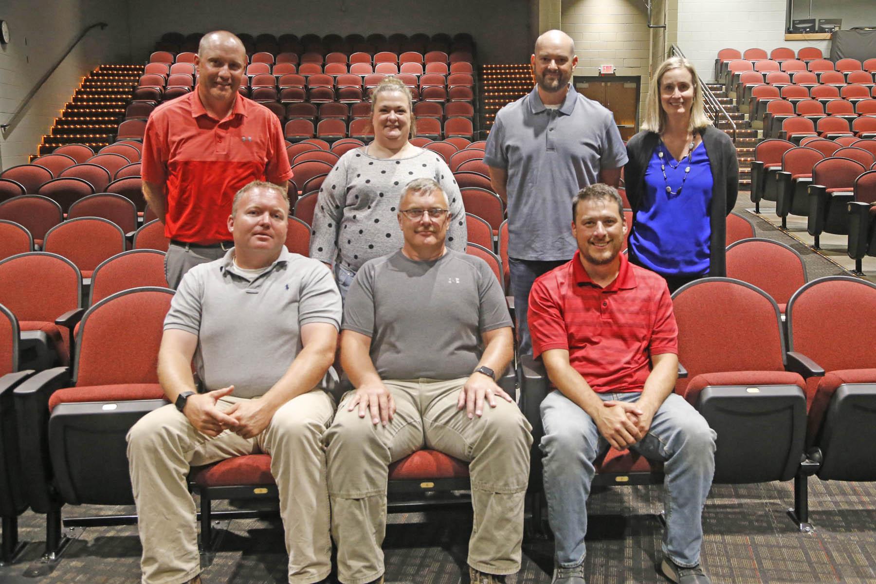 School board members Ben Schemmel, Kevin Sash, Brandon Paine, Corey Lorenzen, Jenna Scott, Darrell DeWinter, Kristi Martin