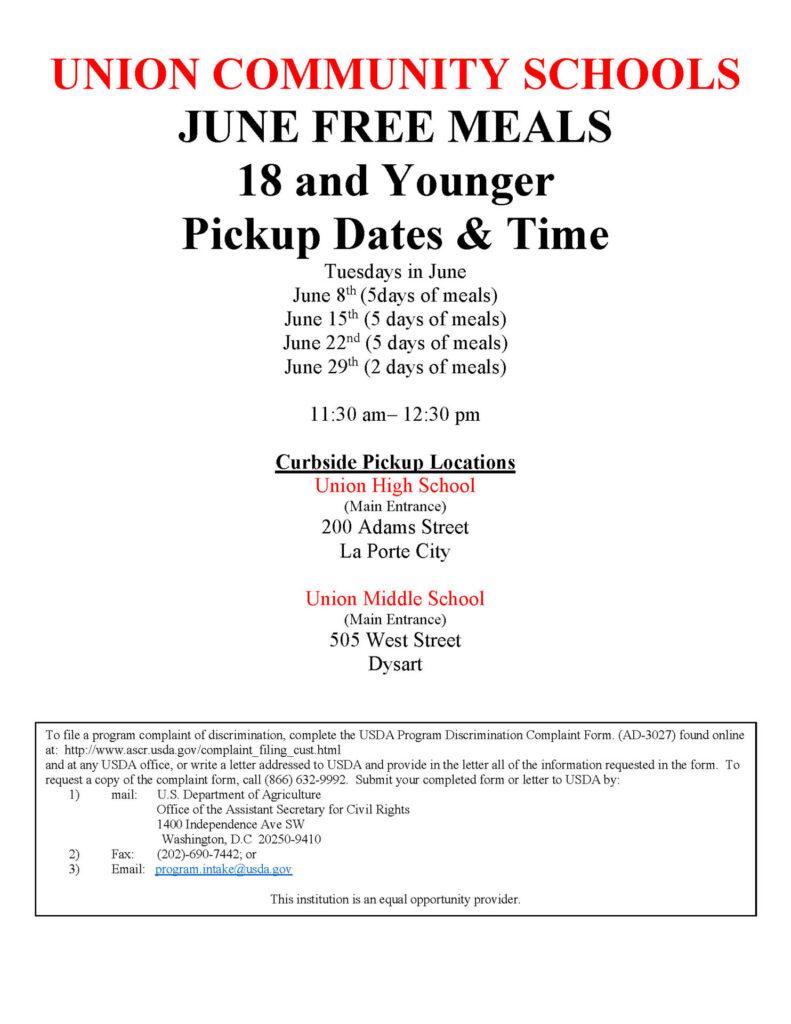 June Meal info